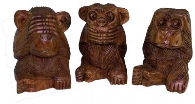 Holzfigur Drei Holz Affen 115 Cm Nichts Hören Sehen Sagen